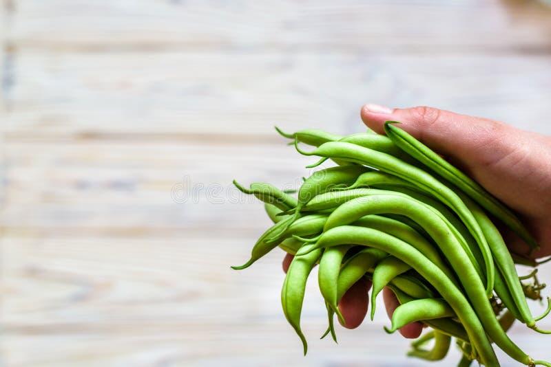 Realizar do fazendeiro no seu feijão verde fresco da mão imagem de stock royalty free