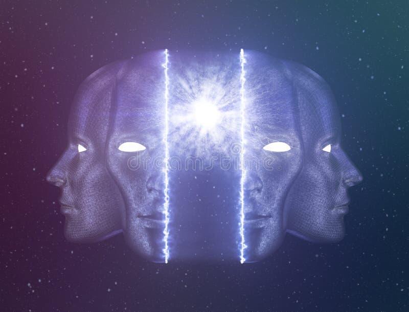 Realizzazione di auto o svegliarsi oltre il concetto di ego illustrazione vettoriale