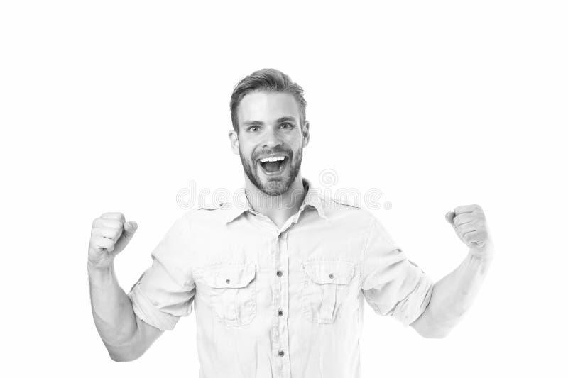 Realizzi il successo Tipo barbuto bello dell'uomo che sorride sul fondo bianco isolato Il sorriso allegro del tipo ritiene felice fotografie stock libere da diritti