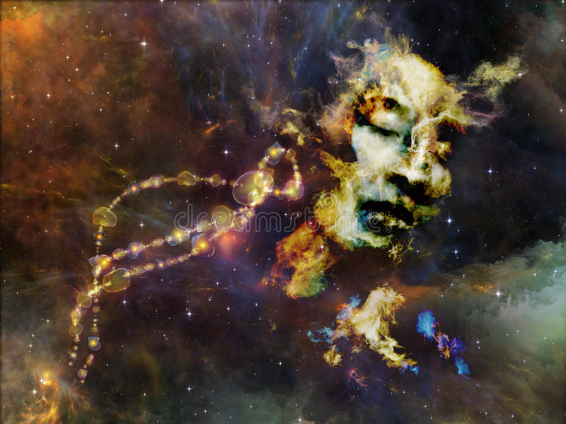 Realms of Our Past. Memory of Me series. Composition of female portrait and space texture on the subject of art, philosophy and spirituality royalty free stock images