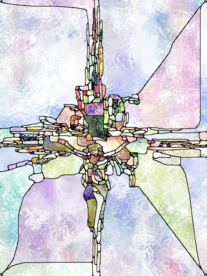 Realms of Stained Glass. Shards of Belief. Cross of Stained Glass series. Graphic composition of organic church window color pattern  for subject of fragmented vector illustration