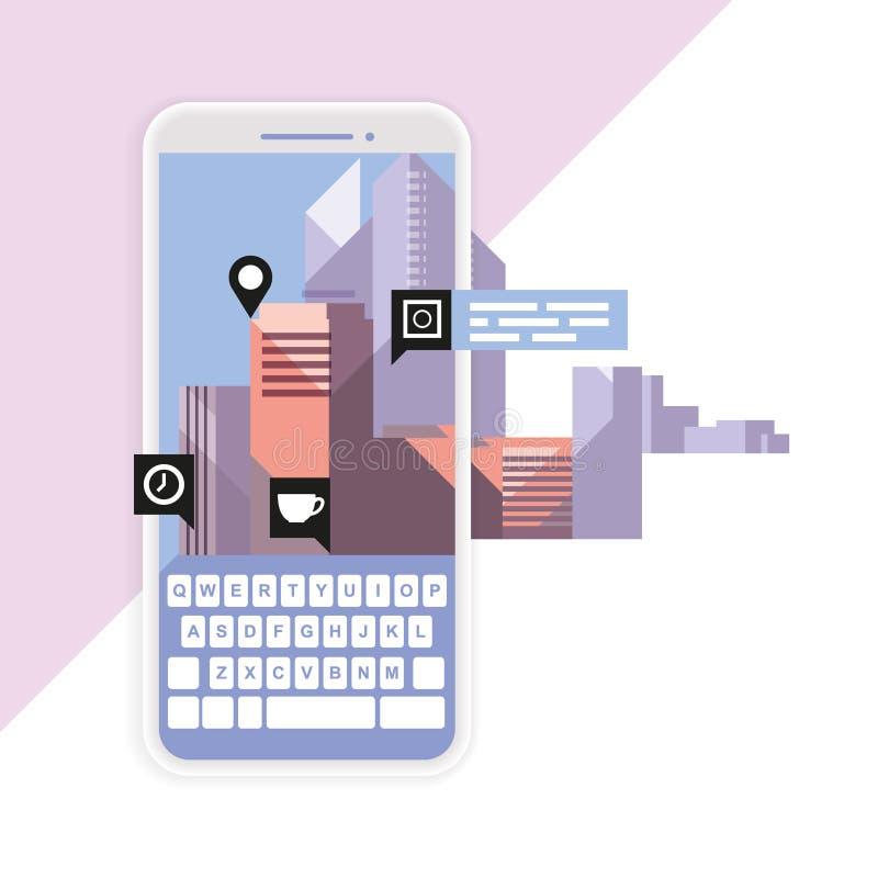 Realtà aumentata e geotargeting sul dispositivo mobile, sulla navigazione e sul geolocation app royalty illustrazione gratis