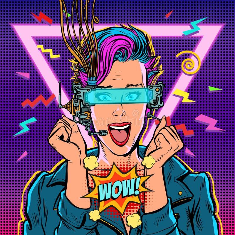 Realtà virtuale del gamer della donna di vetro del vr di gioia di wow online ragazza 80s royalty illustrazione gratis