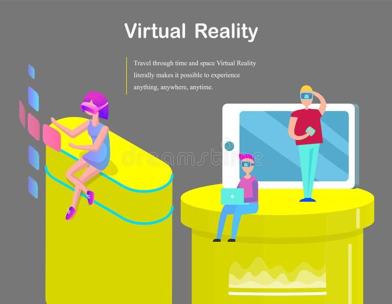 Realtà virtuale per l'insegna del fumetto dei ragazzi e delle ragazze royalty illustrazione gratis