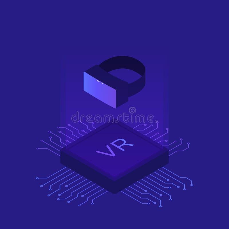 Realtà virtuale piana isometrica del casco di VR piattaforma della realtà visiva con microscheme concetto dell'illustrazione di v royalty illustrazione gratis