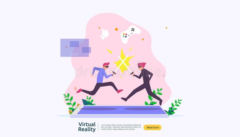 Realt? aumentata virtuale carattere della gente che tocca l'interfaccia di VR e che indossa occhiali di protezione che giocano, i illustrazione di stock