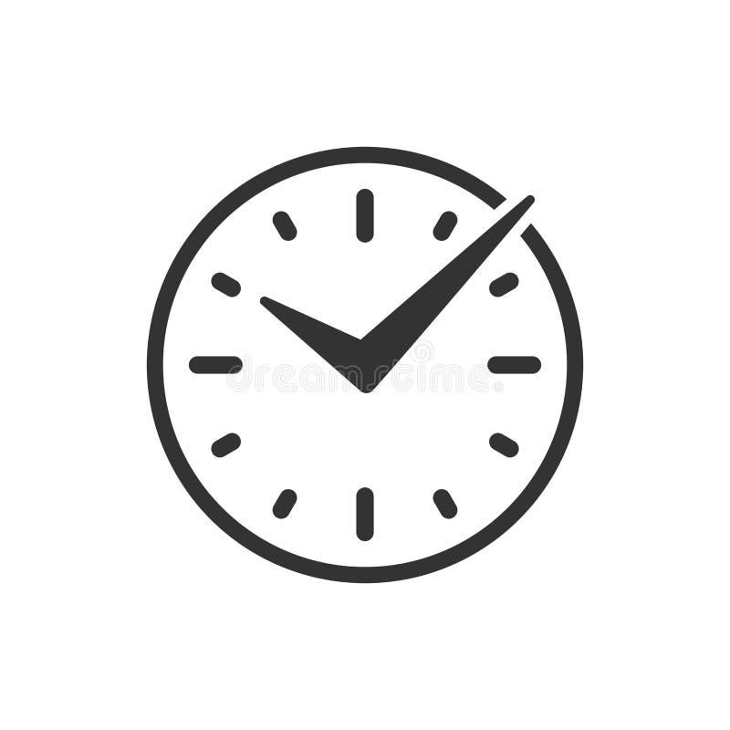 Realtidssymbol i plan stil Klockavektorillustration på vit isolerad bakgrund Klockaaffärsidé royaltyfri illustrationer