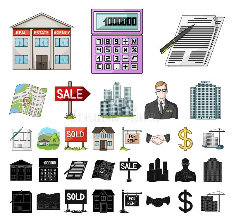 Realtor, agency cartoon, black icons in set collection for design. Buying and selling real estate vector symbol stock. Illustration vector illustration