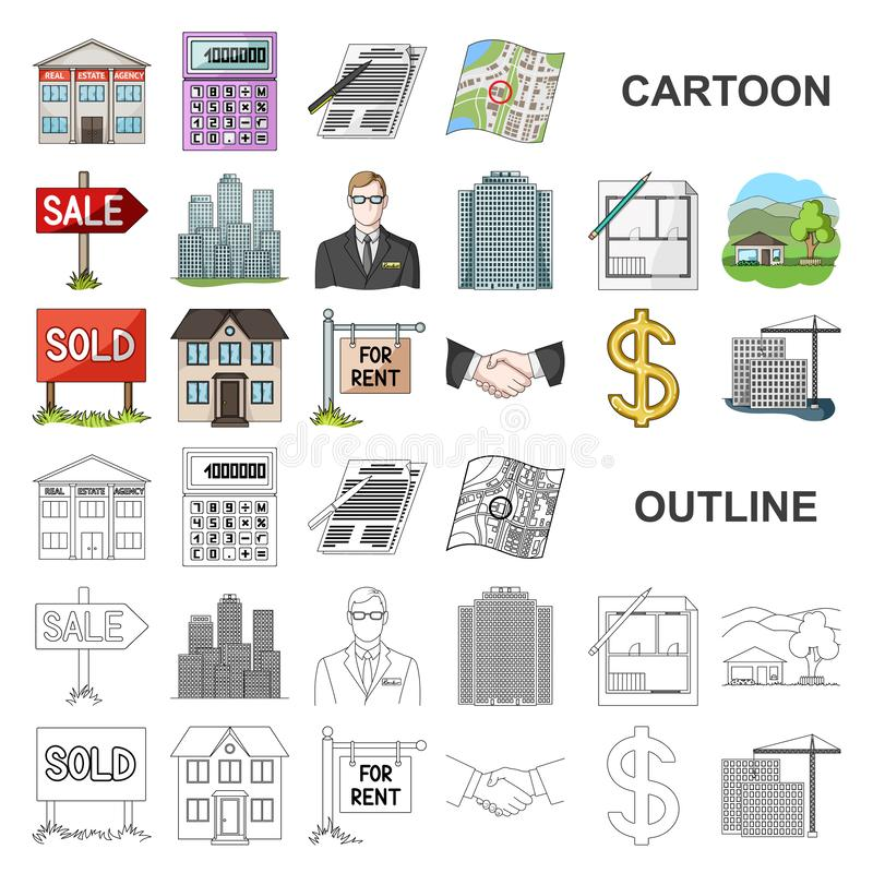 Realtor, agency cartoon icons in set collection for design. Buying and selling real estate vector symbol stock web. Realtor, agency cartoon icons in set stock illustration
