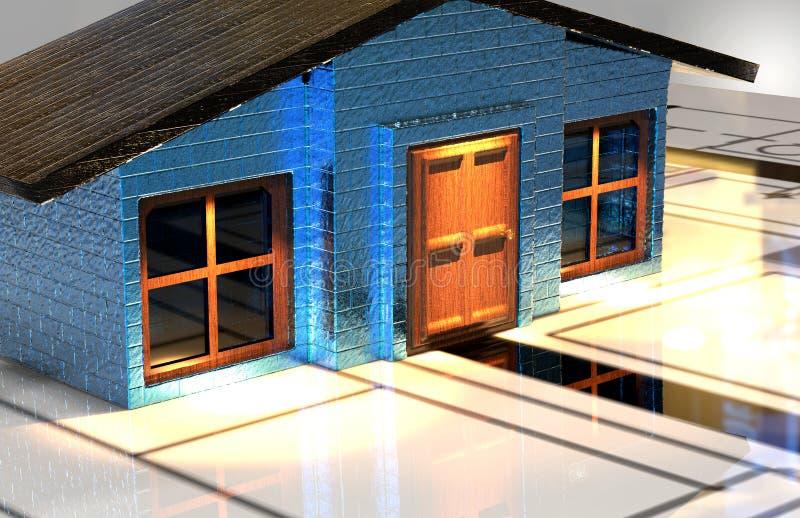 REALTOR BLUE HOUSE RENDER royalty free stock image