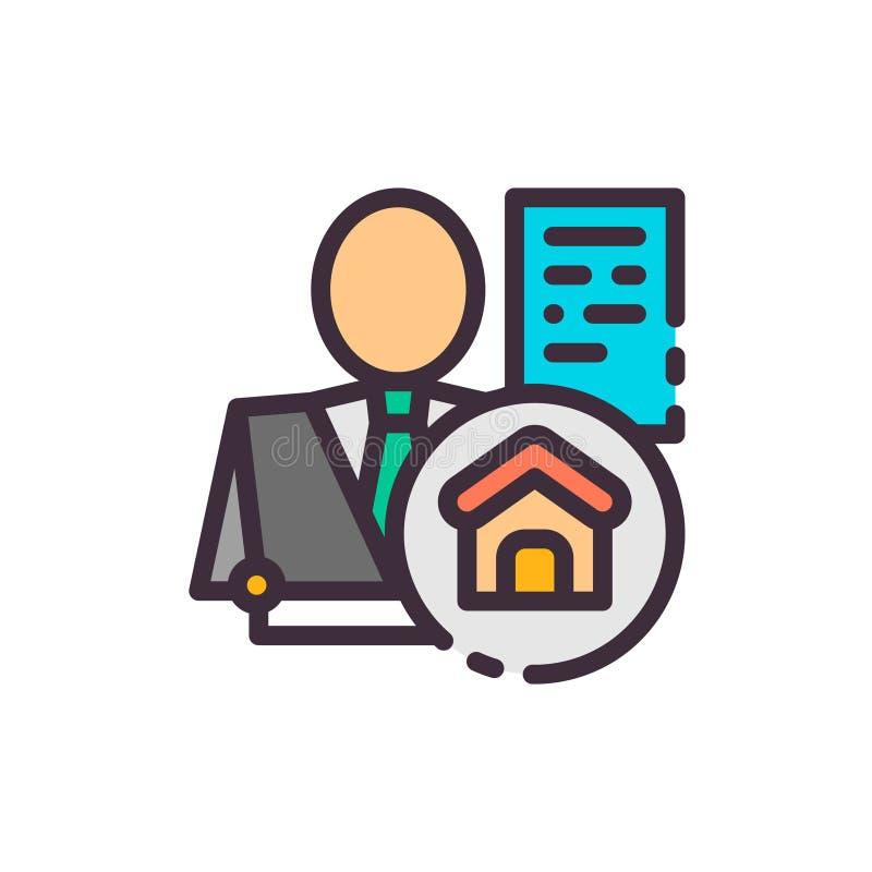 realtor Häusermakler Vektorfarbikone lizenzfreie abbildung