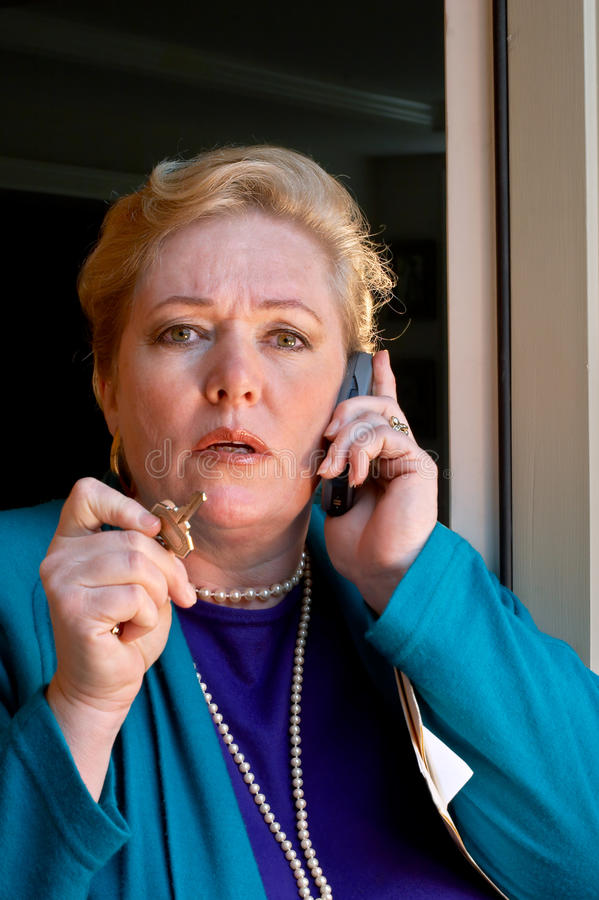 Realtor-now listen.... My client will not...tense phone conversation royalty free stock photography