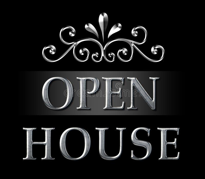 Realtor Open House Silver Sign royalty free stock photos
