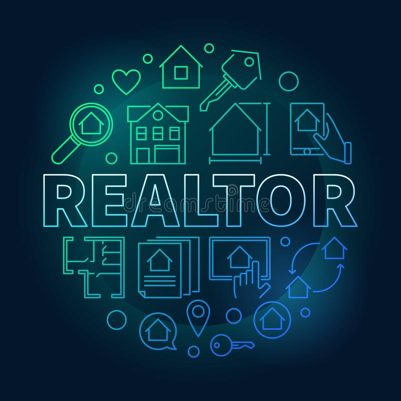 Realtor round colored vector illustration in outline style royalty free illustration