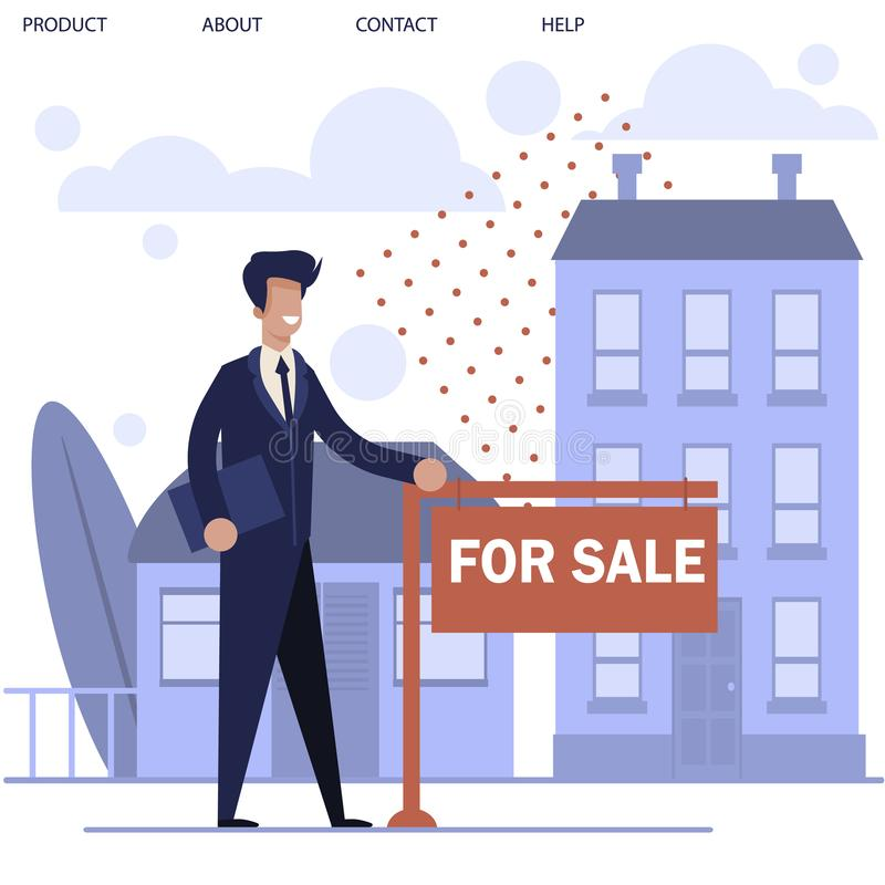 Realtor Standing near Ad Signboard and New House. Cartoon Realtor Man Character Standing near Ad Signboard and Buildings for Rent. Real Estate Agent Showing Flat stock illustration