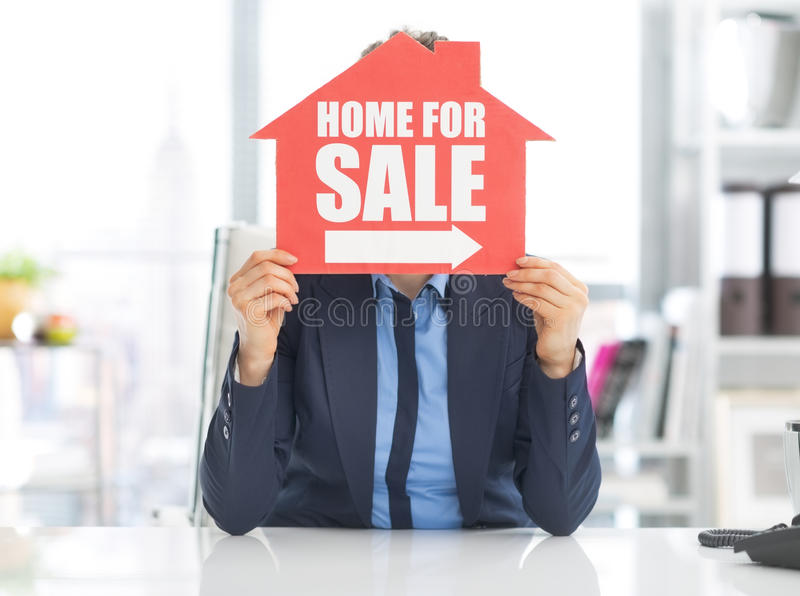 Download Realtor Woman Holding Home For Sale Sign Stock Image - Image: 39327133