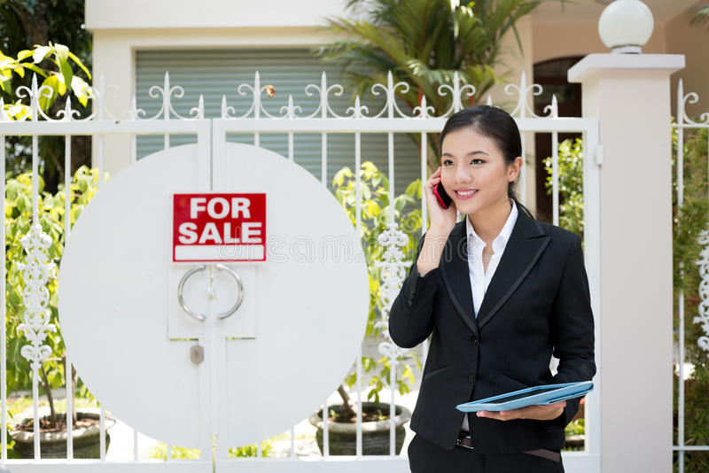 Download Realtor at work stock photo. Image of sale, placard, outside - 32145352