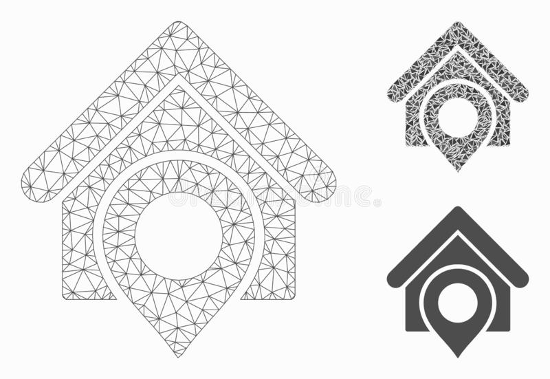 Realty Location Vector Mesh Carcass Model and Triangle Mosaic Icon. Mesh realty location model with triangle mosaic icon. Wire carcass triangular mesh of realty vector illustration