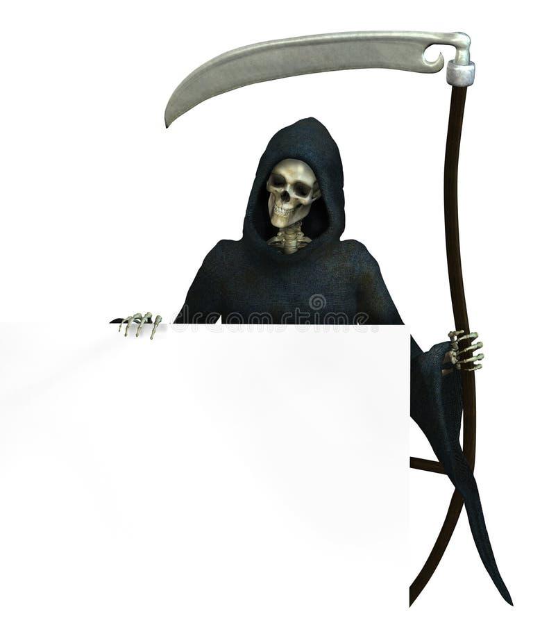Reaper sinistre avec le bord de signe - comprend le chemin de découpage illustration de vecteur