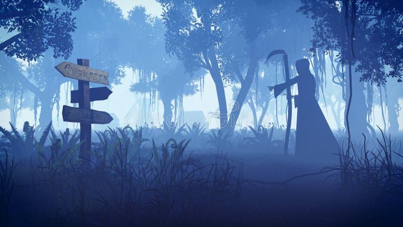 Reaper torvo che avanza verso il villaggio alla notte illustrazione vettoriale