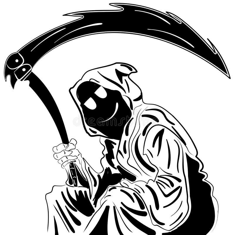 Reaper torvo Illustrazione schizzo dell'inchiostro disegnato a mano illustrazione vettoriale