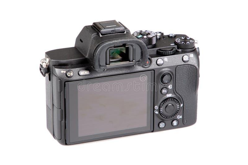 Rear back view screen digital photo camera on white isolated background. A rear back view screen digital photo camera on white isolated background stock photos