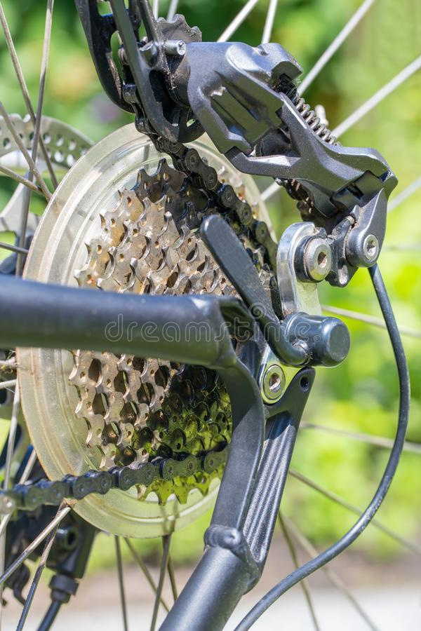 Rear bicycle wheel with sprocket chain and derailleur royalty free stock photo
