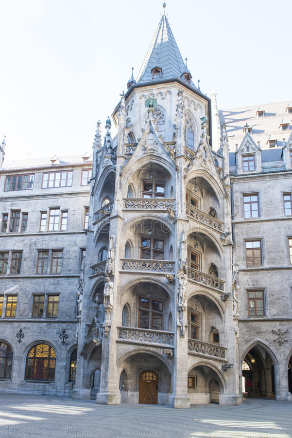Rear of City Hall Munich with staircase stock photo