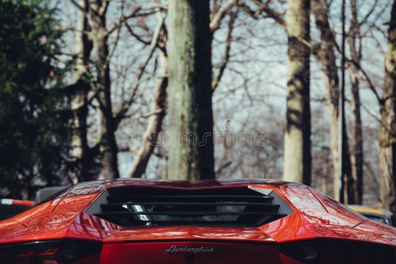 Rear engine bay Aventador royalty free stock photos
