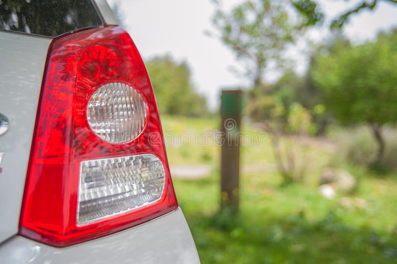 Rear lamp of car park in garden stock images