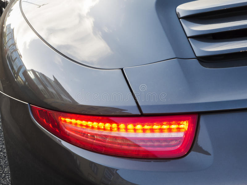 Rear lamp of a German sports car royalty free stock images