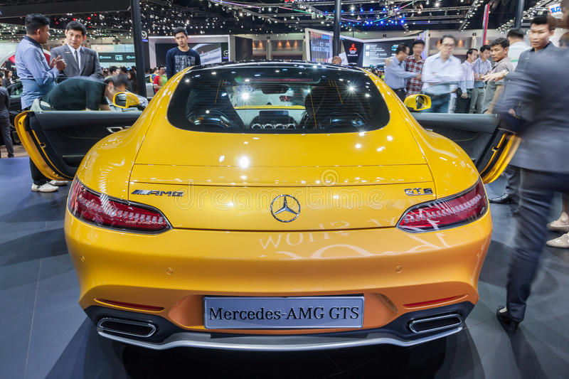 Rear of Mercedes AMG GTS. Nonthaburi,Thailand - March 26th, 2015: Rear of of Mercedes AMG GTS on display,showed in Thailand the 36th Bangkok International Motor royalty free stock image