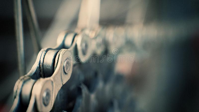 Rear mountain bike cassette on the wheel with chain royalty free stock image