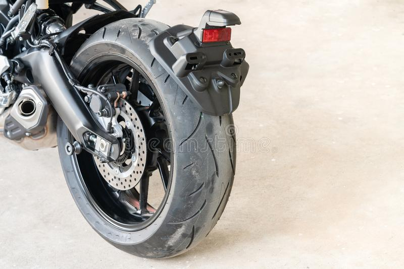 Rear Mudguards and Rear brake on Sport motorcycle - vehicle fender to protect the vehicle, passengers, other vehicles, and pedestr. Ians from mud flying debris royalty free stock images