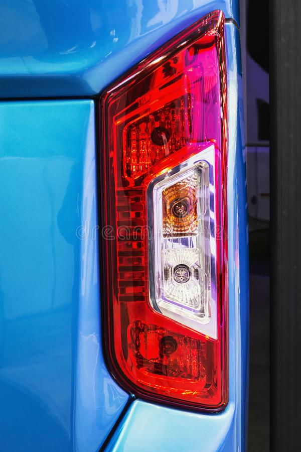 Rear Parking lights of a car, bus or truck. Modern led and halogen lighting royalty free stock photos