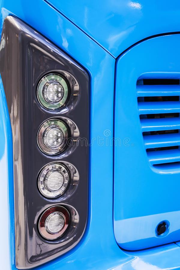 Rear Parking lights of a car, bus or truck. Modern led and halogen lighting stock photos