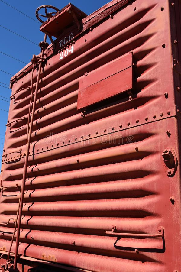 Rear of Railroad Cargo Car. stock image