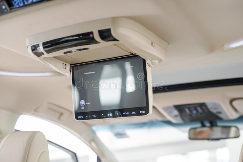 rear seat monitor in a toyota mpv stock photography