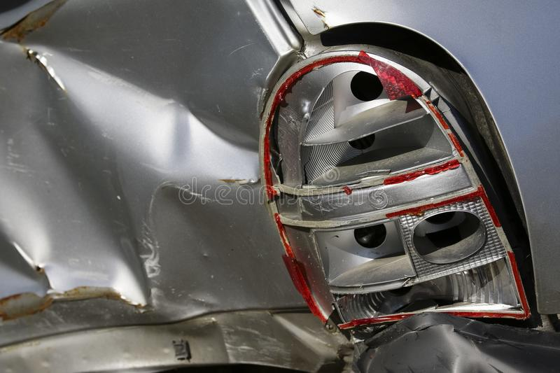 rear of silver car get damaged by crash accident royalty free stock photography