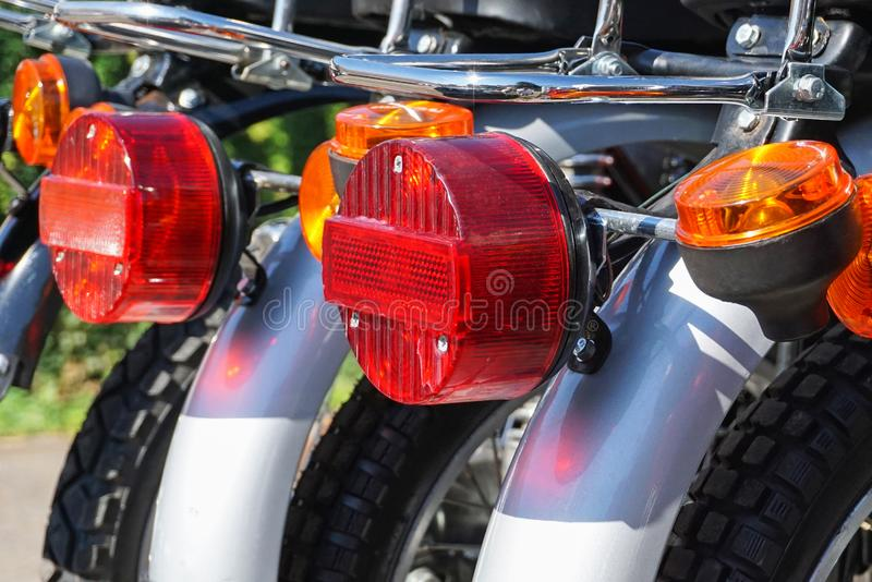 Rear stop light of motorcycles stock image