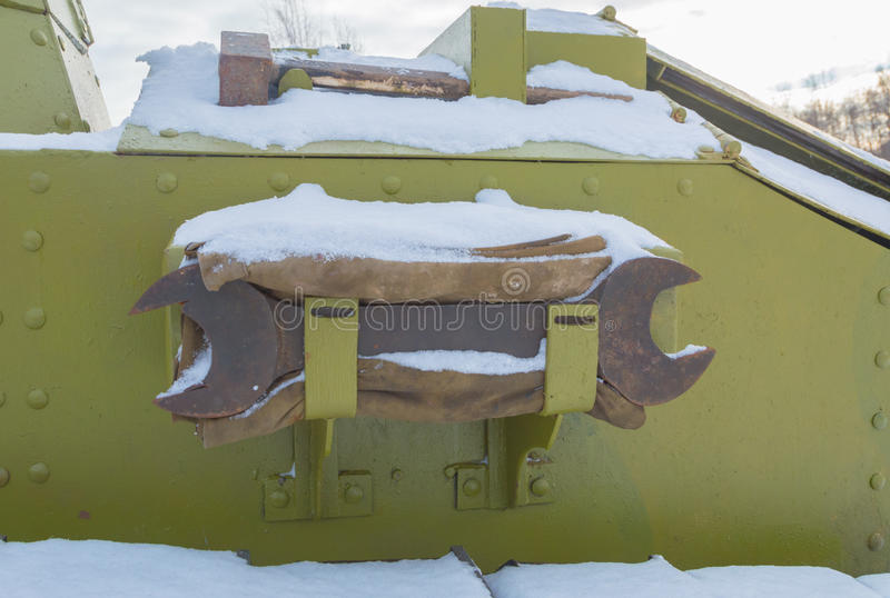 The rear of the tank with the repair tool. Repair tools on the body of the tank royalty free stock photography