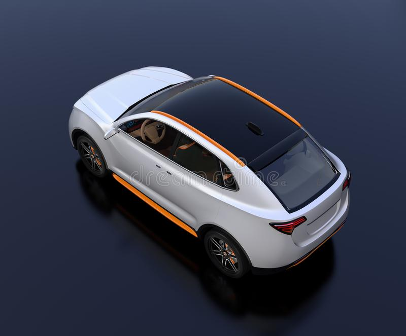 Rear top view of white Electric SUV concept car parking on reflective ground stock illustration