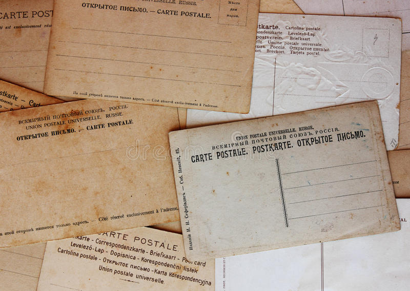 Rear view of ancient post cards. Background royalty free stock image