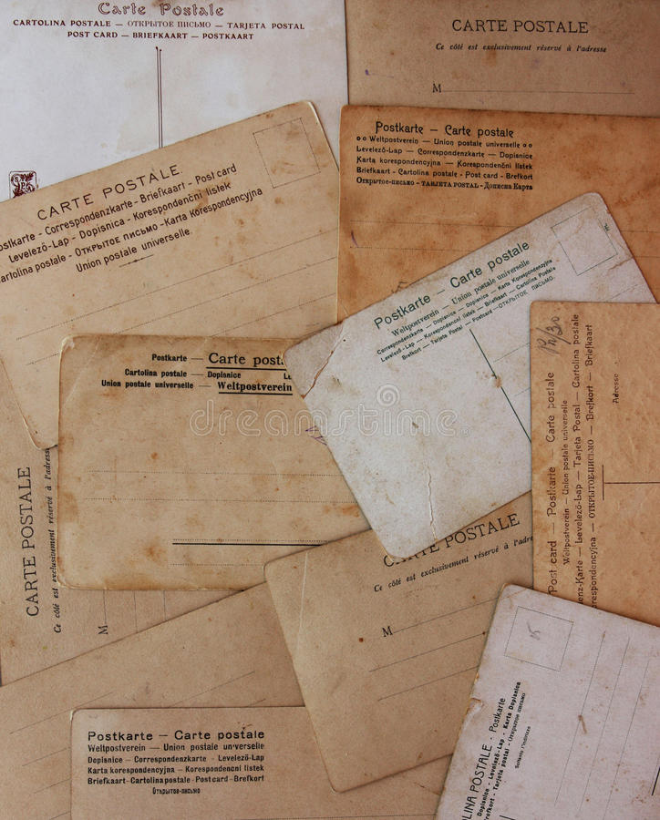 Rear view of ancient post cards. Background stock photography