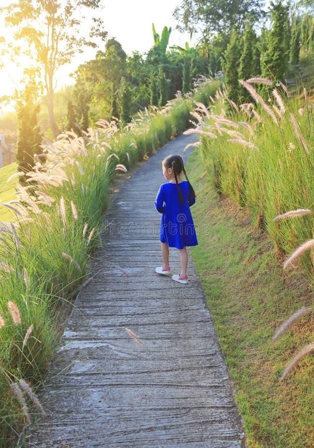 Rear view Asian little kid girl walking on walkway in wild grass field at sunrise royalty free stock photo