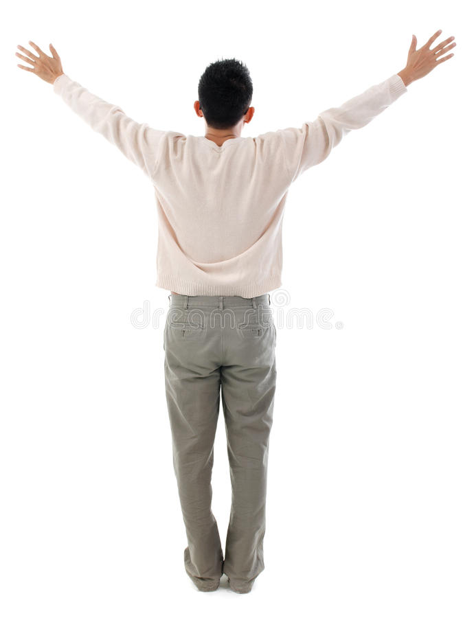 Download Rear View Asian Man Arms Outstretched Stock Photo - Image: 34560982