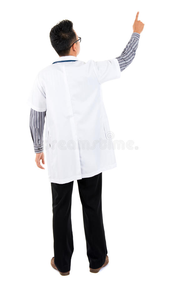 Rear view of Asian medical doctor stock photos