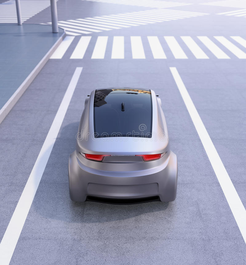 Rear view of autonomous vehicle waiting at intersection vector illustration