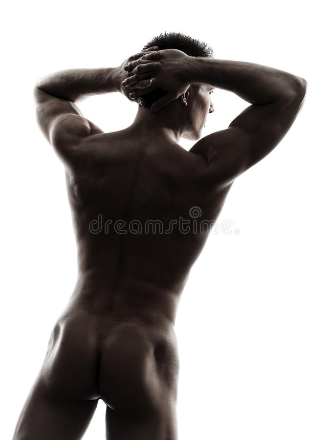 Download Rear View Back Handsome Naked Muscular Man Silhouette Royalty Free Stock Images - Image: 31121179