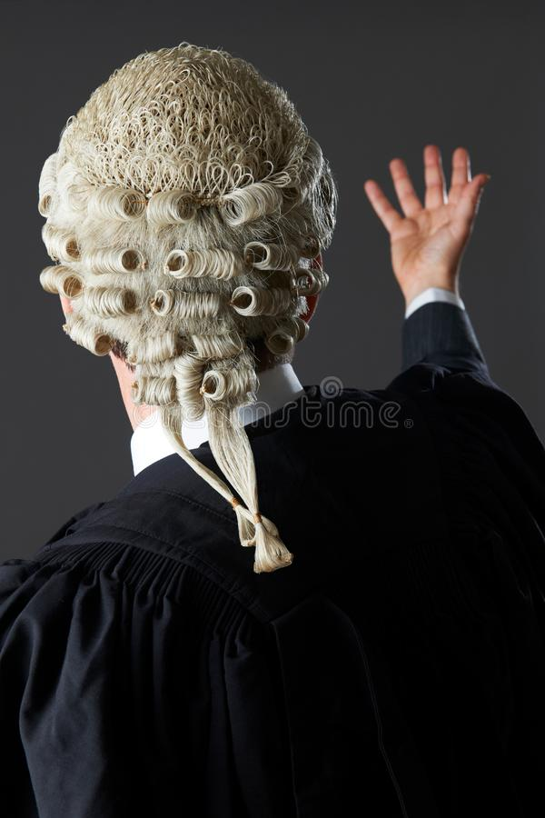 Rear View Of Barrister Making Speech In Court. Barrister Making Speech In Court stock images